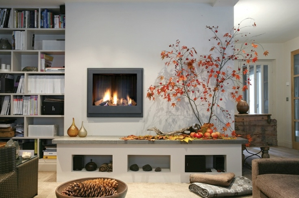 Contemporary-fireplace-surround-seating space tree contemporary living room