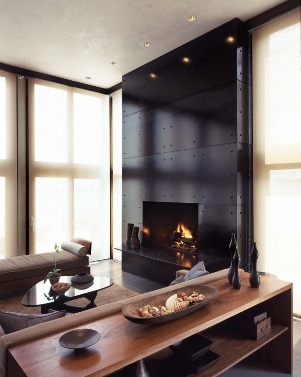 Modern-fireplace -surrounds-black panels contemporary home interior