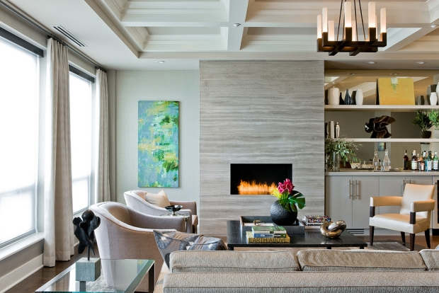 Modern-fireplace-surrounds-contemporary-living room